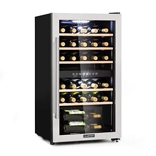 Klarstein Vinamour 29D Weinkühlschrank - Kompressionskühler, 2 Zonen, Volumen: 80 Liter, 29 Flaschen, Kühltemperatur: 5-22 °C, Energieeffizienzklasse A, 41 dB, Panoramafenster, schwarz