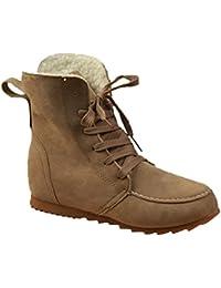 Minetom Otoño Invierno Estilo Británico Antideslizante Botas Calentar Botines Planos Chic Martin Botas de Nieve Lazada Zapatos para Mujer