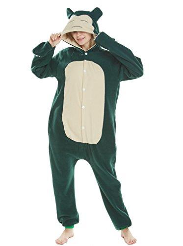 Pokemon Kostüm Glurak Kind - Jumpsuit Tier Pyjama Fasching Halloween Kostüm Schlafanzug Onesie Cosplay Pyjama Erwachsene Damen Karneval Einteiler Snorlax M