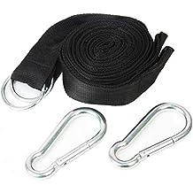 Cuerdas Hamaca-Alta Resistencia 400KG por Cuerda/2 Mosquetones de 8cm/300x5cm-Cuerda Hamaca Sujección Segura