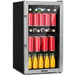 Klarstein Beersafe 3XL - Réfrigérateur à boissons, 98L, classe d'efficacité énergétique A+, hauteur 83 cm, 4 étagères, 7 niveaux de température: 0-10 °C, porte vitrée, façade inox