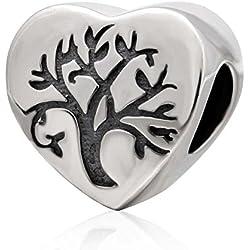 Abalorio de plata de ley 925 con forma de corazón para pulsera Pandora, diseño de árbol de la vida