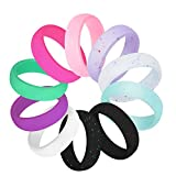 COOLOO Silicone Wedding Ring for Women, 10 Pack Premium Medical Grade Wedding Bands Thin and Stackable Durable Comfortable Antibacterial Rubber Rings, Black White Pink Purple �