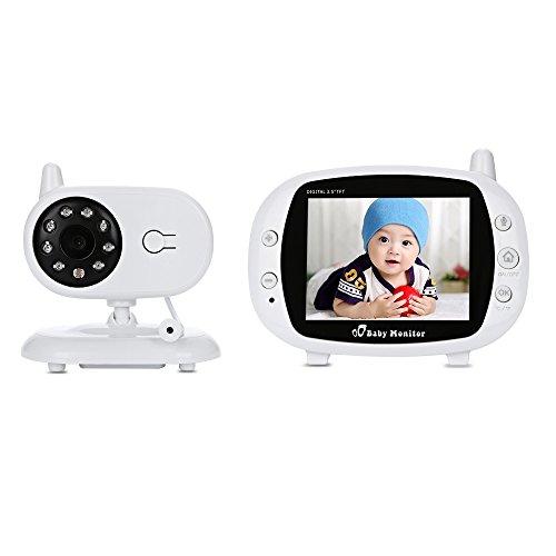 Huiiv Video von schlafenden Baby 3,5 Zoll HD-Kamera mit Baby Lullaby Night Vision Temperature 2 Way Talk 2.4 GHz Digitale Technologie für Babies Sicherheit - Baby-video-monitor-sommer
