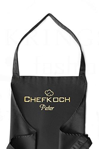 KringsFashion Latzschürze Chefkoch + Name, hochwertig Bestickt, schwarz, Kochschürze, Küchenschürze, Schürze und Stickerei deutsche Produktion; (Extra Koch-schürzen Große)