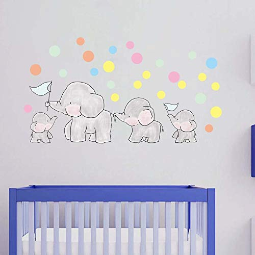 WJuan Pared Pegatinas Dormitorio Animales Elefantes Calcomanías Globo Lunares Arte De La...