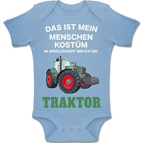 Shirtracer Karneval und Fasching Baby - Das ist Mein Menschen Kostüm in echt Bin ich EIN Traktor - 6-12 Monate - Babyblau - BZ10 - Baby Body Kurzarm Jungen - Traktor Kostüm
