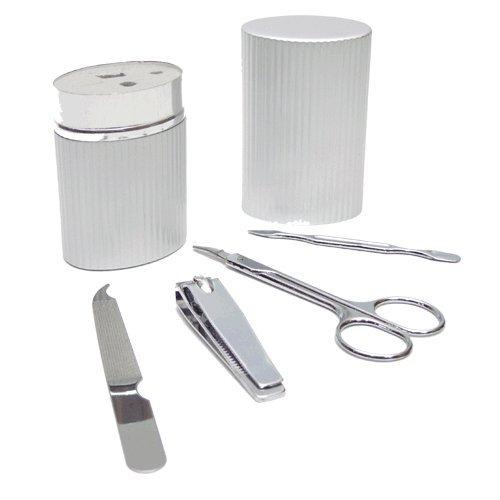 Set de manicura de aluminio 4 piezas (cortauñas, lima, tijeras quita-cutículas) - Precio para lote de 12 unidades