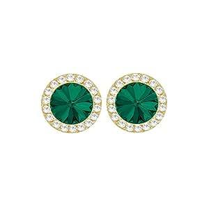 Orecchini a clip con pietra verde smeraldo e cristalli austriaci, in confezione regalo, colore oro