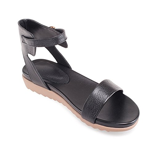 Adee Boucle pour femme open-toe en cuir Sandales Noir - noir