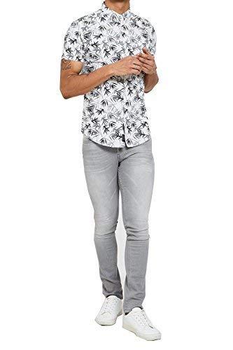 Herren Verschlissen Aaron Bond Hawaii Palm Print kurze Ärmel Kragen Shirt Gr. Large, White Leigh (Button-up-hawaiian-t-shirt)