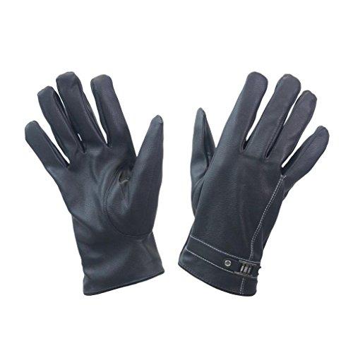 Damen Designer Leder Handschuh Boho Schnalle Detail Naht Design Leder Fahren Handschuh Winter Warm Handschuhe Gr. Größe L, schwarz (Schnalle Leder Detail,)