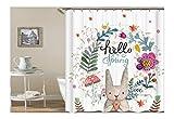Bishilin 3D Duschvorhang Anti-Schimmel Kaninchen Blume Vintage Duschvorhang 90X180