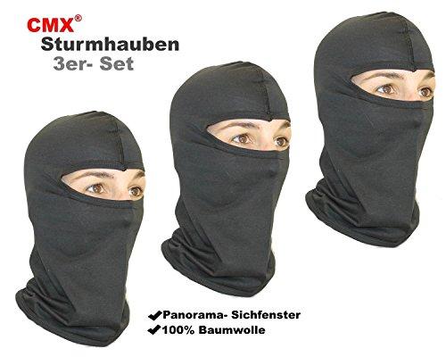 3X CMX Motorradhaube Sturmhaube Skimaske Balaclava schwarz -