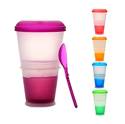 Muesli to Go KitchnPro - Travel Mug for Cereals, with Milk or Yogurt Cooling Compartment / Folding Spoon Included - Color: Purple
