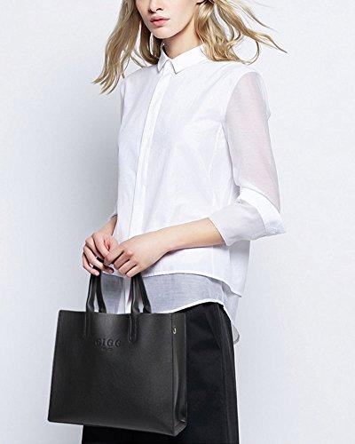 Elegante Donne PU in Pelle Borsa A Tracolla Tote Bag Grande Capacità Borse A Mano Nero