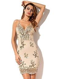 279d0cf68146 RQMQRL Abiti da Festa Corti per Le Donne Estate Scollo A V Spaghetti Dress  Strap Dress Senza Maniche in Maglia con…