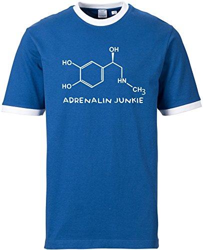 EZYshirt® Adrenalin Junkie Herren Rundhals Ringer T-Shirt Blau/Weiss/Weiss