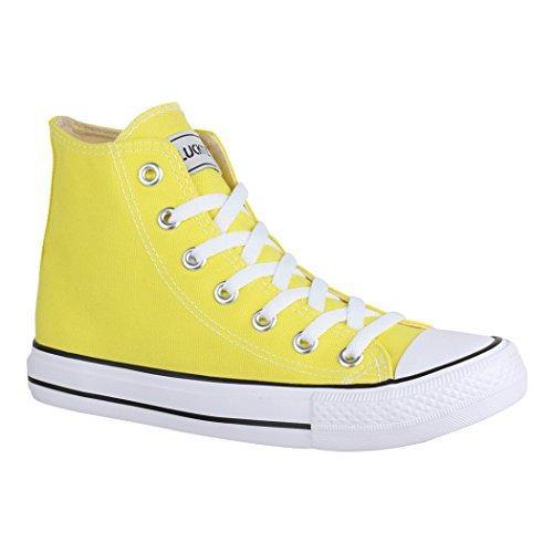 Elara Unisex Kult Sneaker | Bequeme Sportschuhe für Damen und Herren | High top Textil Schuhe|Chunkyrayan 014-A-CA014-Yellow-40