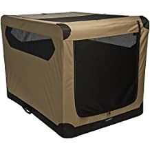 AmazonBasics Portable Folding Soft Dog Travel Crate Kennel - 31 x 31 x 42 Inches, Tan