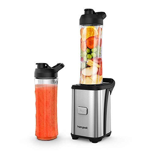 homgeek Blender Smoothie Maker, Electric Juicer | Milkshake Maker | Fruit Blender with 2×600ML Portable Travel Sport Bottles, 350W