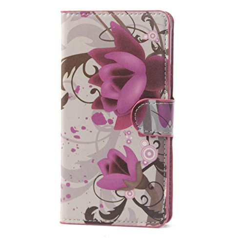 Yakamoz PU Leather Purple Flower Flip Wallet Card Slots Stand Case Cover for Samsung Galaxy Grand Prime G530H with Free Screen Protector & Stylus Pen  available at amazon for Rs.2999