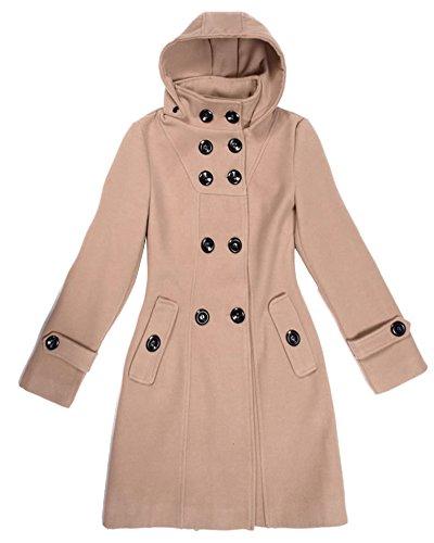 Donna Manica Lunga Cappotti e Giacche con Cappuccio Doppiopetto Cappotto Parka per Invernale Cammello