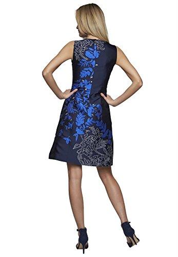 Abendkleid mit Blumenmuster Rundhals nachtblau-multicolor