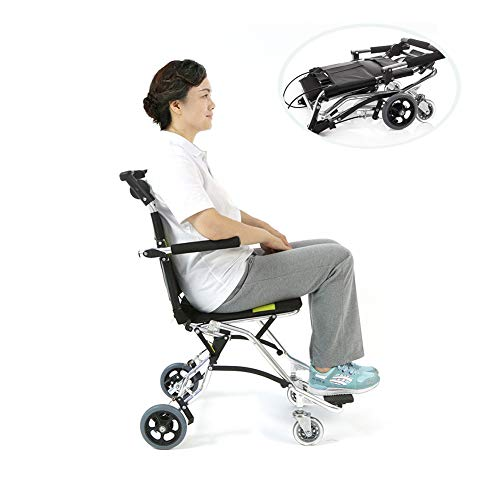 Transport Rollstuhl Leicht Stahlrahmen Antibakterielle Schutz Klappstuhl Tragbare Ältere Kinderhand Schieben Klappfahrrad Rollstuhl,Black