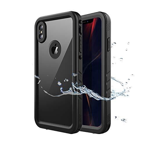"""Wigoo iPhone XS Max Wasserdicht Hülle Ganzkörper Rugged Case Stoßfest IP68 Zertifiziert mit eingebautem Displayschutz Unterwasser Tasche für Apple iPhone XS Max 6,5"""" 2018 Release (Schwarz)"""