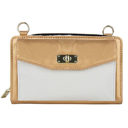 VanGoddy Venice Decor Design anteriore da sposa sera pochette borsetta Tote spalla borsa donna a pieghe (Crema / Vino) Oro / Bianca