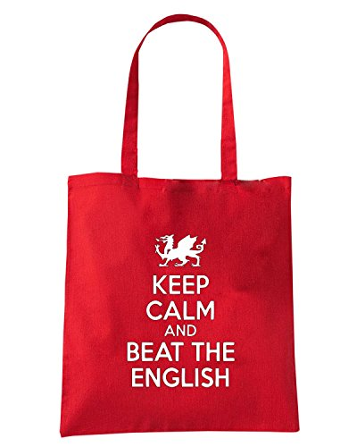 T-Shirtshock - Borsa Shopping OLDENG00762 keep calm and beat the english logo Rosso