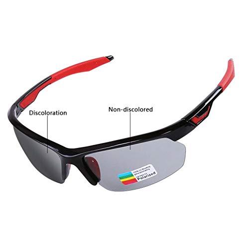 CLOUD Sport Sonnenbrillen polarisiert für Männer und Frauen, UV-Schutzverfärbung Fahren Laufen Golf Radfahren Brillen (Color : Black red)