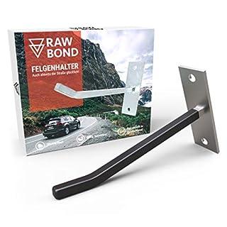 RAWBOND Felgenhalter Wand zur Aufhängung für 4 Reifen - Wandhalterung, Reifenhalter inkl. Schrauben & Dübel - Halterung für Deine Autoreifen & Felgen in der Garage - Felgenhaken Halter mit eBook