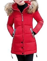 FNKDOR Doudoune Femme Hiver Chaud Longues Manteau avec Capuche Col Fausse  Fourrure Épais Zippé Parka Blouson d6289a37792b