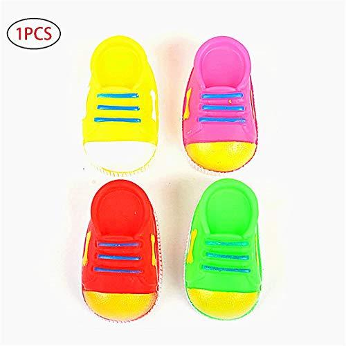 pielzeug Beißen Resistant Spielzeug Haustier Hund-Katze-Welpe Ton Tupfen-Gummi kaut Lustige Schuhe Spielzeug (zufällige Farbe) 1PCS ()