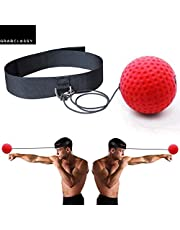 Grab Classy - Boxing Reflex Ball, Reflex Ball with Headband, Punching Ball Fight Ball for Speed Reactions, Punching Speed, Fight Skill and Hand-Eye Coordination (red)
