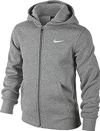 Nike 619069-010 - Sudadera con capucha para niños, color Gris (Dk Grey Heather/White), talla M (talla del fabricante:…