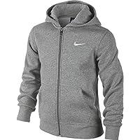 Nike 619069-010 - Sudadera con capucha para niños, color Gris (Dk Grey Heather/White), talla XL (talla del fabricante: 13-15 años/158-170 cm)