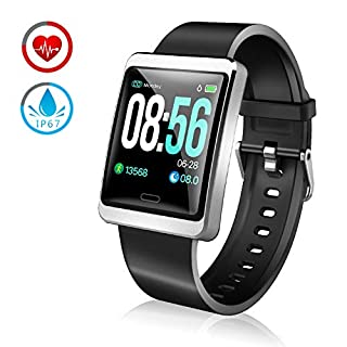 ZKCREATION smart watch, IP67 waterproof Bluetooth fitness tracker 24-hour heart rate monitoring record Sleep monitoring Calorie sedentary reminder compatible with Android and iOS for men and women