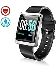 ZKCREATION Reloj Inteligente Pulsera Actividad con Pulsómetro Podómetro Calorie Monitoreo del sueño IP67 Impermeable Smartwatch Deportivo