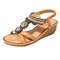 Bohemian Sandals Women,Ladies Diamante Shoes Flip Flops Casual Sandals Flat Shoes Low Wedges Crystal Bling Paisley Basic Elastic Band Casual Shoes Spring/Autumn Size 4-7 Brown
