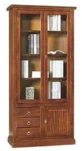 Lo Scrigno Arredamenti, Libreria/Vetrina Arte Povera 3 Porte 3 Cassetti Tinta Noce W388/N