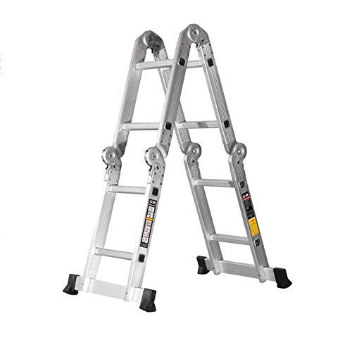 XMGJ Schiebeleitern Tritthocker - klappbarer Tritthocker für den Haushalt, Konstruktionsleiter aus Aluminiumlegierung, Treppensteigen, Herringbone-Leiter, tragbarer gepolsterter Tritthocker für Pferde