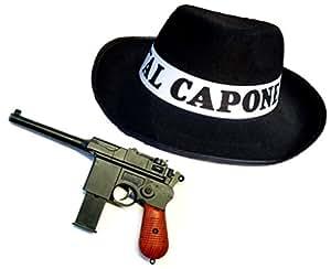 """Origine Mafia Costume """"AL CAPONE"""" - Définir avec le chapeau et le pistolet"""