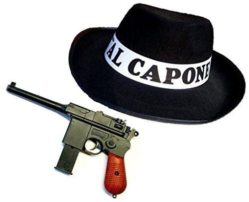 lles Mafia Kostüm AL CAPONE- Set mit Hut und Pistole (Kinder Al Capone Kostüm)