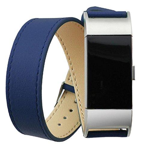 Ihee lusso software cinturino da polso regolabile in vera pelle doppio giro, cinturino per Fitbit Charge 2, Uomo, Y609, Blue, M