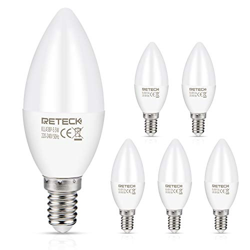 Reteck E14 LED Lampe, 5W, 550Lm, Warmweiß, Ersetzt 60W Glühlampe, C35 LED Kerzenlampen, E14 LED Leuchtmittel, E14 LED Kerzenbirnen, 5er Pack