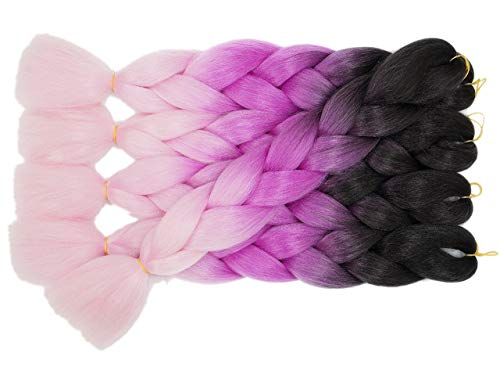 Onetree Long Kanekalon Jumbo Braids Ombre Synthetic Braids Hair Extensions (3Packs/Lot, Black/Purple/Light Pink) (Light Hair Purple Extensions)