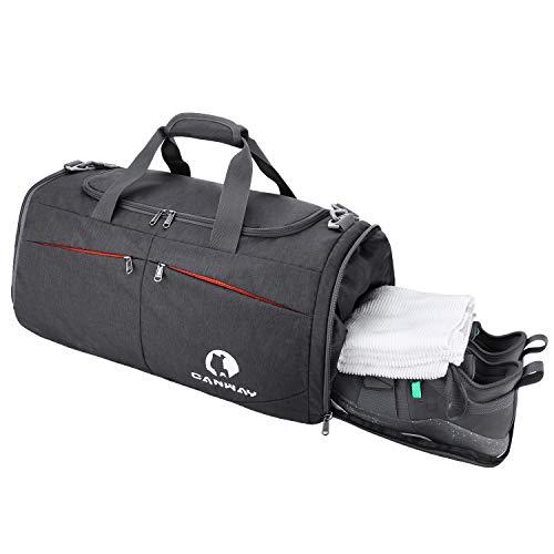 CANWAY CANWAY Faltbare Sporttasche Faltbare Reisetasche mit dem schmutzigen Fach und Schuhfach Leichtgewicht für Männer und Frauen (Schwarz)